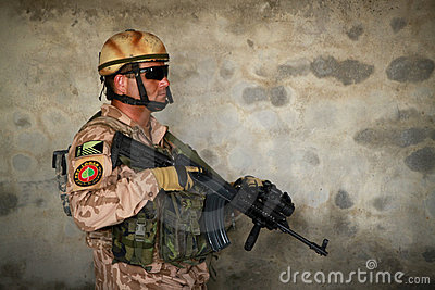 Czech soldier in Afghanistan indoors Editorial Stock Photo