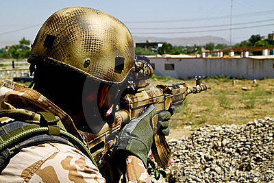Czech soldier on guard in Afghanistan Editorial Photo