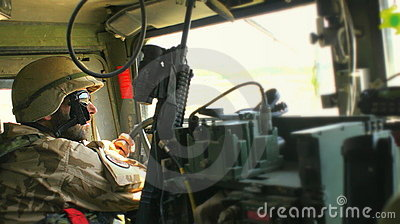 Czech soldier inside humvee Editorial Image