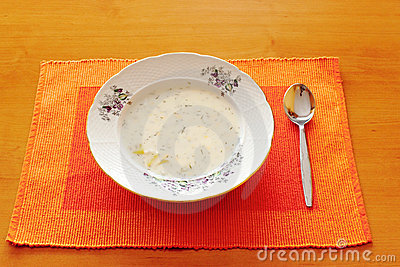 Czech white milk soup