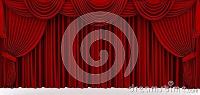 Czerwona sceny draperia