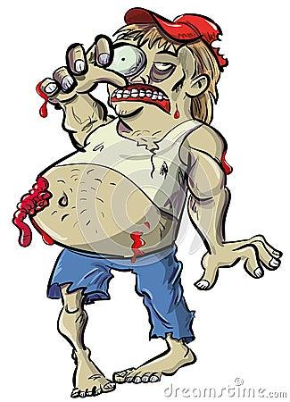 Czerwona szyja żywego trupu kreskówka z dużym brzuchem