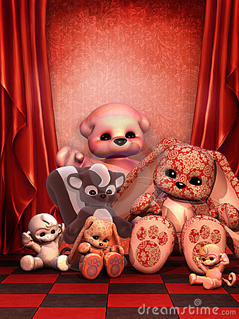 Czerwone izbowe zabawki