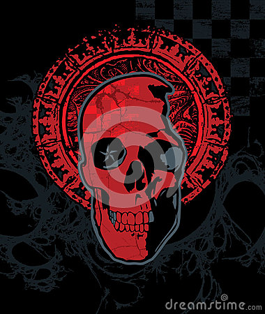 Czerwona Checker czaszka Z halo