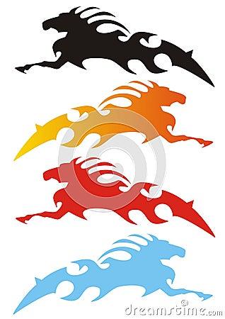 Cztery końskiego stylizacyjnego warianta
