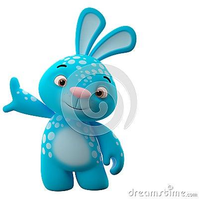 快活的动画片兔子,在白色背景的动物字符