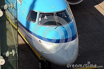 Düsseldorf airport - Air France KLM cockpit Editorial Stock Image