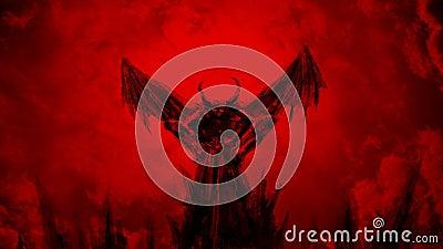 Dämon verbreitet seine Flügel und Fliegen oben stock video