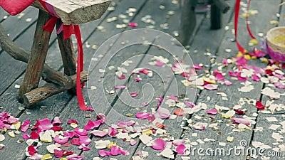Décoration de mariage, pétales colorés des roses sur les conseils en bois clips vidéos