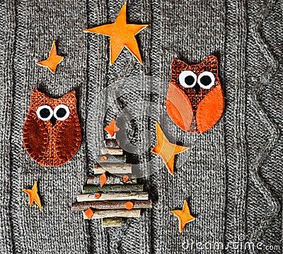 D coration faite main de no l sur le fond tricot chaud - Decoration fait main ...