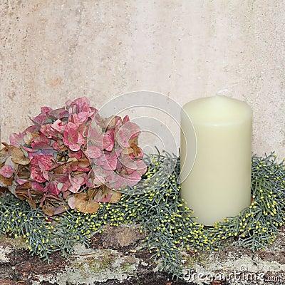 D coration faite maison rustique de no l avec l hortensia for Maison de la bougie