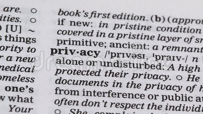 Définition de la vie privée indiquée dans le dictionnaire, droit de rester seul ou non perturbé clips vidéos