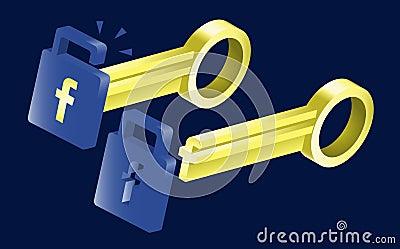 Déverrouillage des possibilités avec Facebook Image éditorial