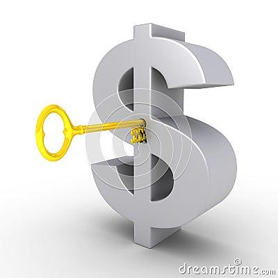 Dólar-clave en el ojo de la cerradura del símbolo del dólar