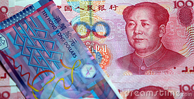 Dólar de China RMB e de Hong Kong