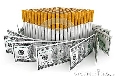Dólares de billetes de banco con el cigarrillo
