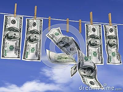 Dólares em uma corda