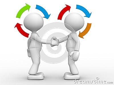 3d人们-人,握手和箭头的人. 合作.图片