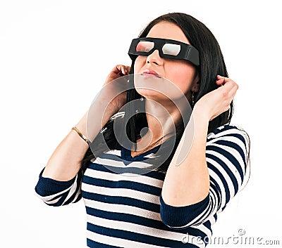 戴3d眼镜的女孩