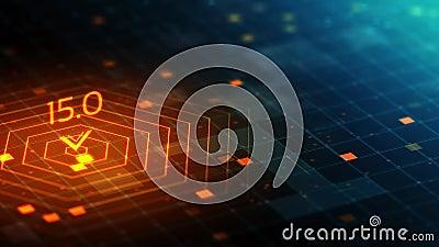 3D在网络计算的空间的抽象全息图栅格表面与信号标志 库存例证