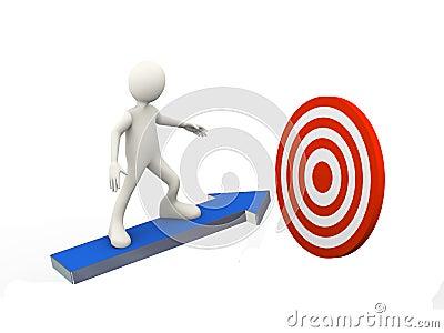 3d冲浪在箭头的人的例证移动朝使命目标目标 3d人的人字符和白人.