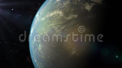 3d返回地球欧亚大陆高照明母亲行星质量翻译空间星形 股票视频