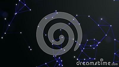 3D представляют предпосылку плекса o Яркие точки соединены с линиями techno голубыми актиния иллюстрация вектора