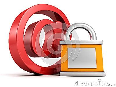 概念互联网安全: 在电子邮件标志的红色与挂锁