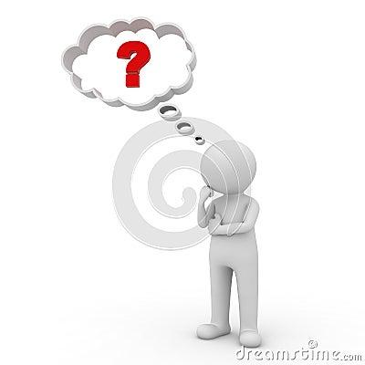 3d认为与在想法泡影的红色问号的人在他的在白色背景的头上.图片