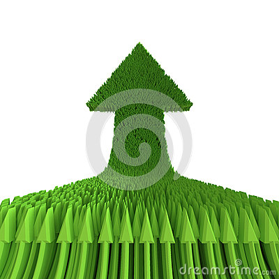 3d在白色背景隔绝的绿色箭头