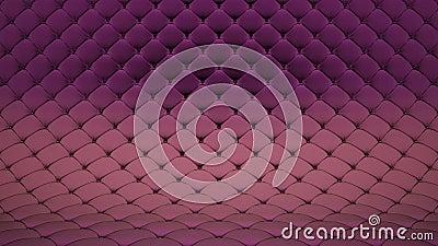3D animatie van bleek - roze gewatteerde oppervlakte met purpere glanzende riemen Realistische animatie van hoogte - kwaliteit Va stock footage