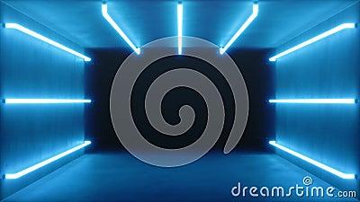 3D animation faite une boucle, int?rieur bleu abstrait sans couture de pi?ce avec les lampes au n?on rougeoyantes bleues, lampes  banque de vidéos