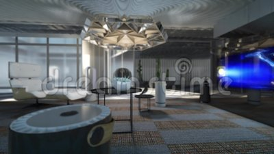 3d Animation Of Future Living Room Lighting Up Stock