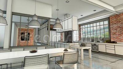 Modern  kitchen project evolution. 3D animation of a modern urban kitchen evolving  from a wireframe rendering to a realistic color rendering vector illustration