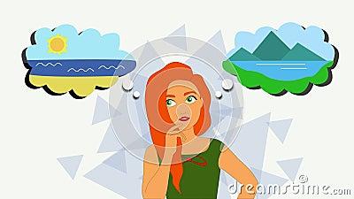 2D-Animation, nachdenkliche Kaukasische Rotkopfmutter, die auf beiden Seiten mit Denkwolken steht Mädchen entscheiden über Urlaub lizenzfreie abbildung