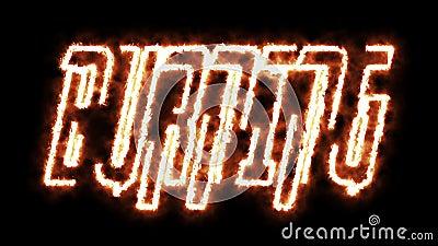 2D Animation of word BURNING gemaakt met een letter on fire on black background royalty-vrije illustratie