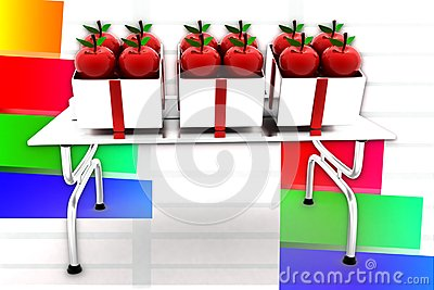 3d Apple On Table Illustration
