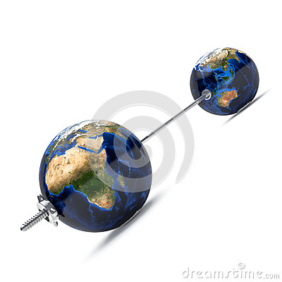 3d barbell with earth