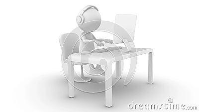 3d biały charakter pisać na maszynie na komputerze Bezszwowy, alfa kanał,
