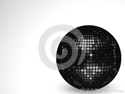 3d black disco ball