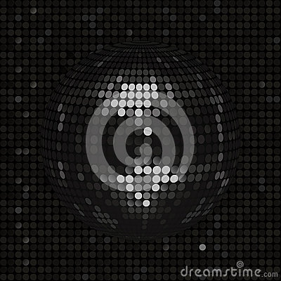 Black disco ball on black mosaic background