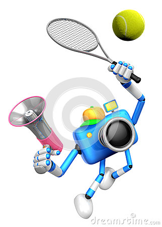 3D Blue Camera character is a powerful tennis game play exercise