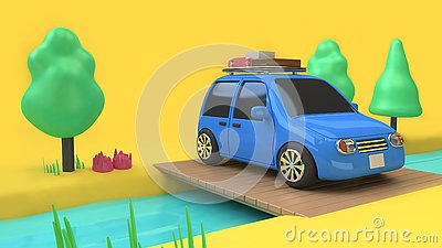 Blue car eco-family car style with object on wood bridge over stream and many tree nature,travel holiday concept 3d rendering c Stock Photo