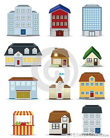 3d Building Icon Set