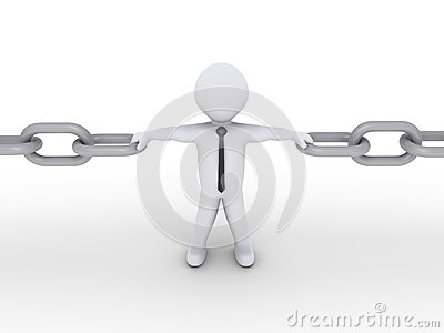 Businessman is part of a chain