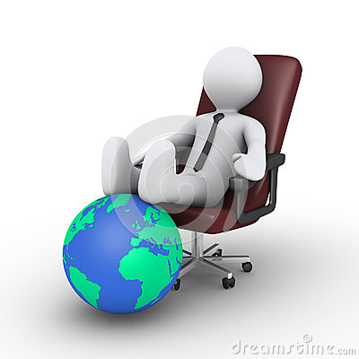 Businessman relaxing with feet on globe