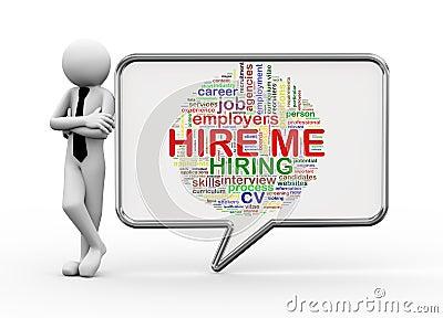3d businessman with speech bubble - hire me tags