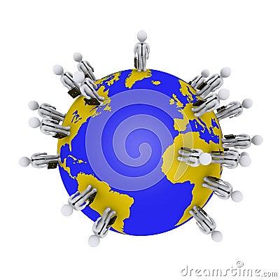 Businessmen around earth