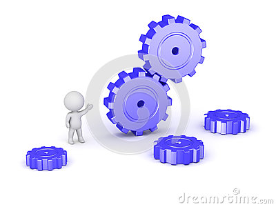 3D Character and Large Gears Stock Photo