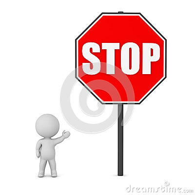 3D Character and Large Stop Sign Stock Photo